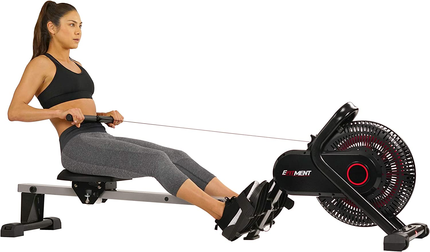EFITMENT Aero Air Fan Rowing Machine Rower w LCD Monitor, 245 LB Weight Capacity, 51 Inch Rail Length – RW036