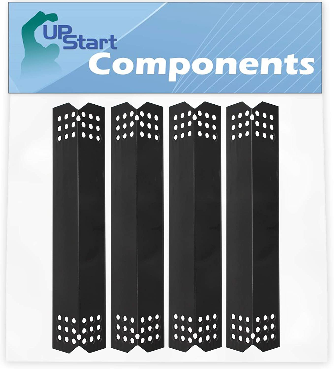 4-Pack BBQ Grill Heat Shield Plate Tent Replacement Parts for Kenmore 122.33492410 - Compatible Barbeque Porcelain Steel Flame Tamer, Guard, Deflector, Flavorizer Bar, Vaporizer Bar, Burner Cover