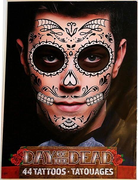 Halloween Noir Squelette Web Jour Des Morts Homme Ou Femme Visage Tatouage Temporaire 2 Feuilles Par Savvi Amazon Ca Beaute