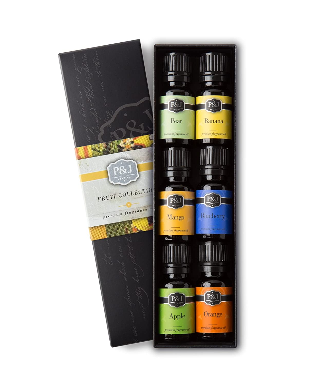 Fruit Set of 6 Premium Grade Fragrance Oils - Orange, Mango, Apple, Blueberry, Banana, Pear - 10ml