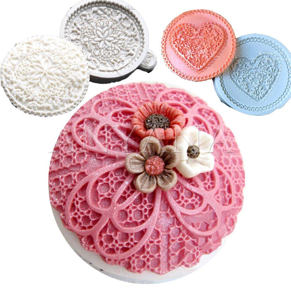 Anyana 3pcs set Fondant Impression sugar lace molds fondant impression lace wedding mould Silicone imprint mold Cake Decorating Supplies for Cupcake topper Decoration