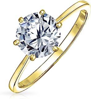 Bling Jewelry Plaqué Or 925 Round CZ Solitaire Bague de fiançailles OA-11OLA4244G-5