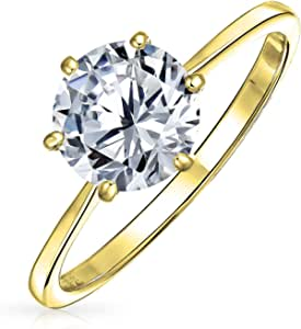 Simple 1.25CT 6 Prong AAA CZ Solitaire Engagement Ring For Women 1MM Thin Band 14K Rose Gold Plated 925 Sterling Silver