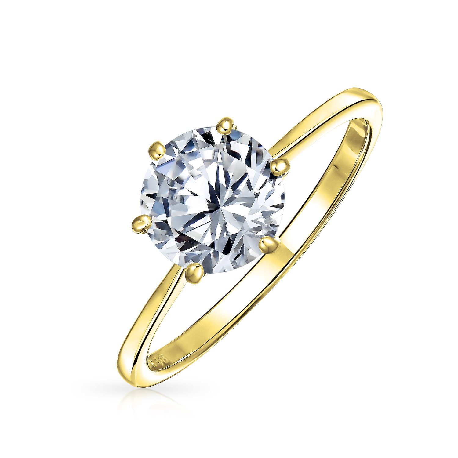 Gold Plated .925 Silver Round CZ Solitaire Engagement Ring