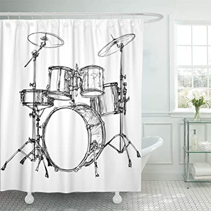 Amazon Emvency Shower Curtain Music Of Drum Kit Rock