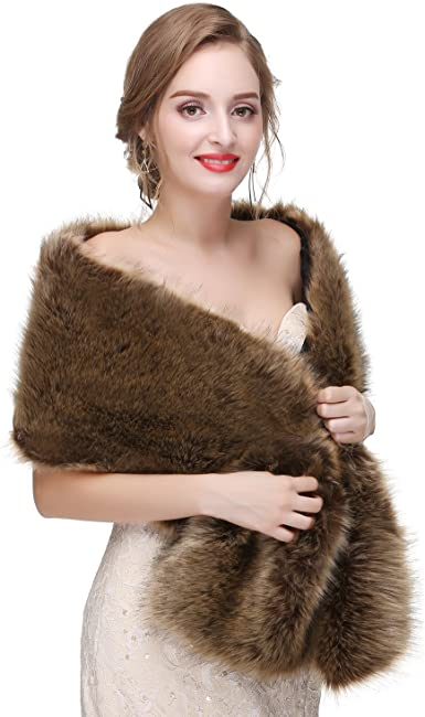 6 Colors Womens Ladies Faux Fur Wraps Bridal Wedding Evening Shawl  Shrug Cape