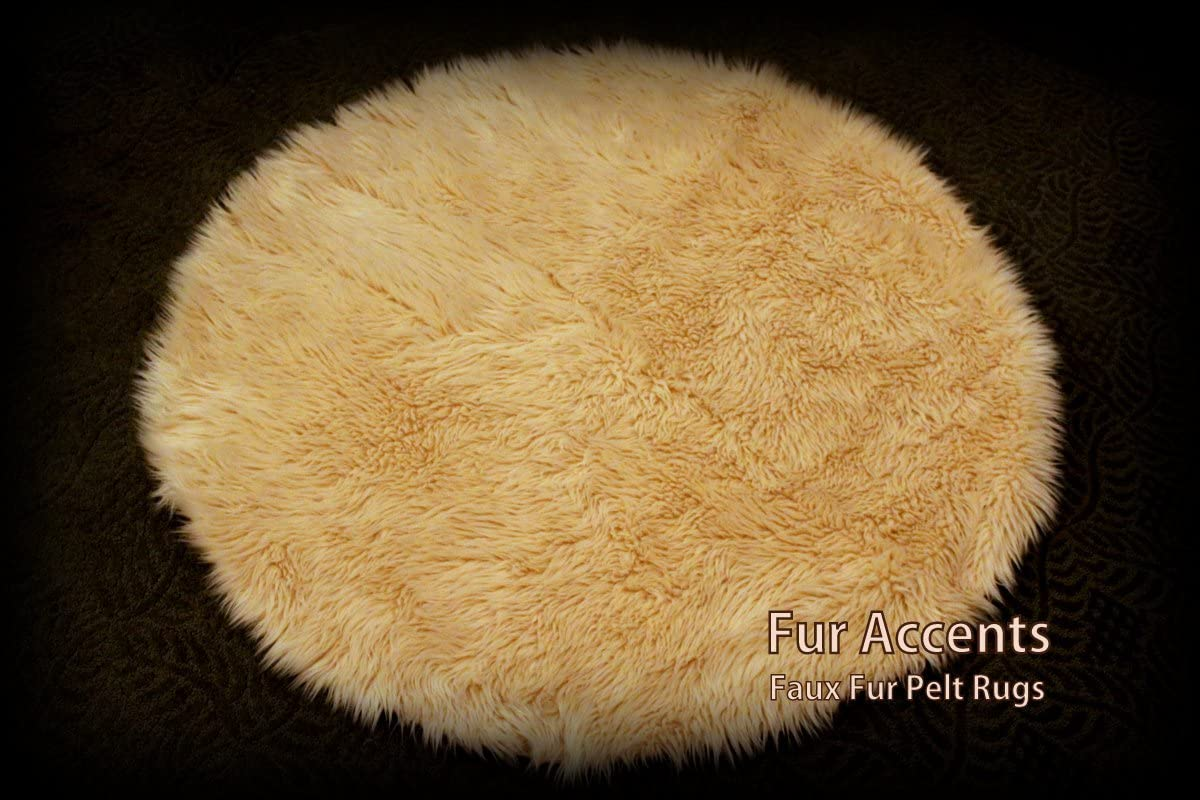 Fur Accents Sheepskin Round Accent Rug Camel Tan 5