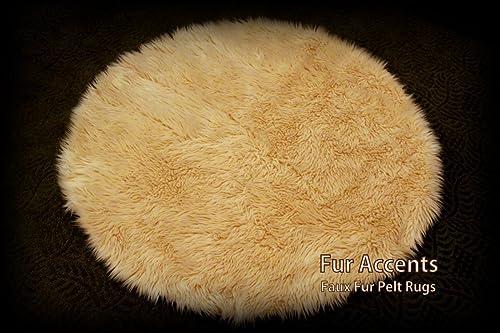 5' Camel Faux Fur Sheepskin Round Accent Rug/Area Throw Carpet/Pelt Rug/New