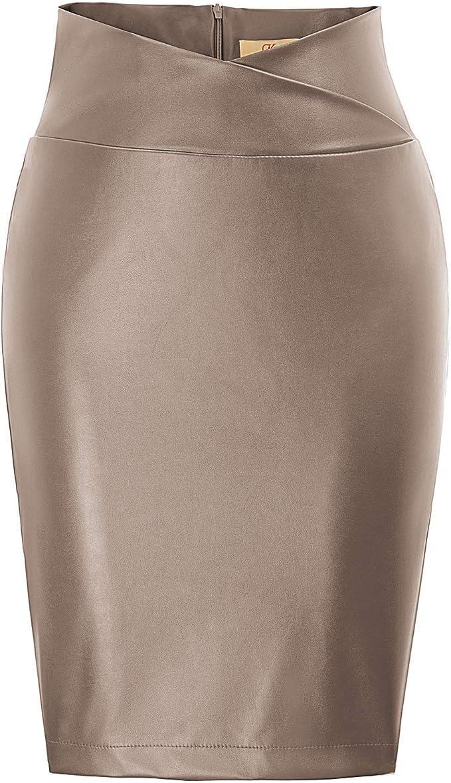 GRACE KARIN Mujer Falda de Tubo Corta Lápiz Cintura Alta Cuero de Imitación: Amazon.es: Ropa y accesorios
