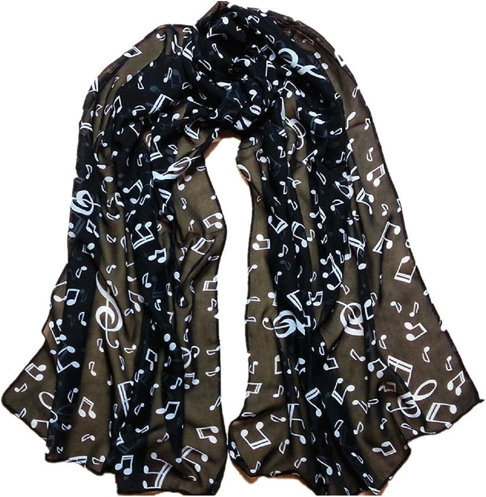 Familizo elegante bella tinta Sciarpe Donne Lady 1PC nota musicale chiffon della sciarpa di collo scialle silenziatore Nero