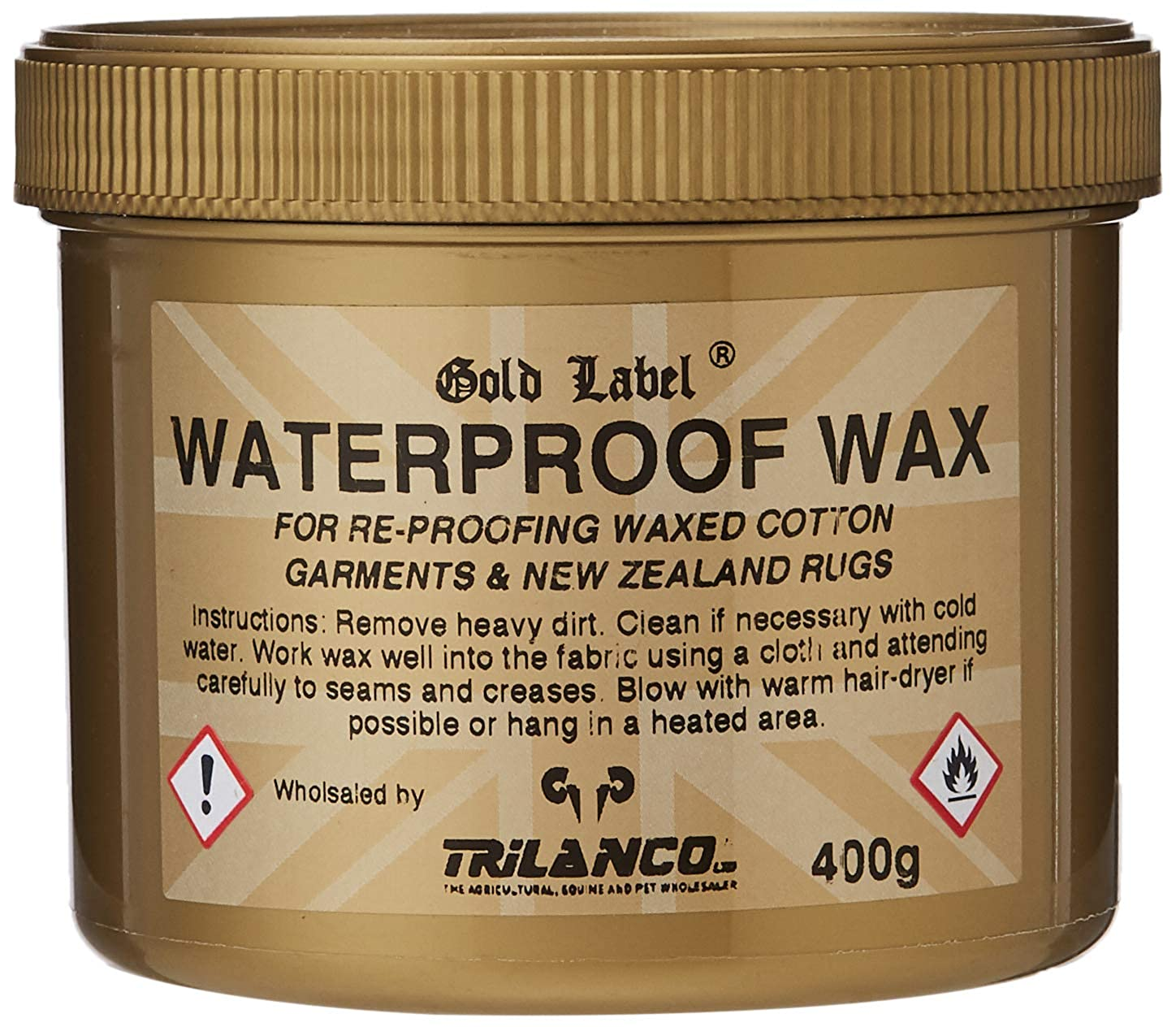 e0b8d2b2ccf3 Gold Label Waterproof Wax for Re-Proofing Wax Cotton Clothing   Horse  Turnout Rugs 400g  Amazon.co.uk  Clothing