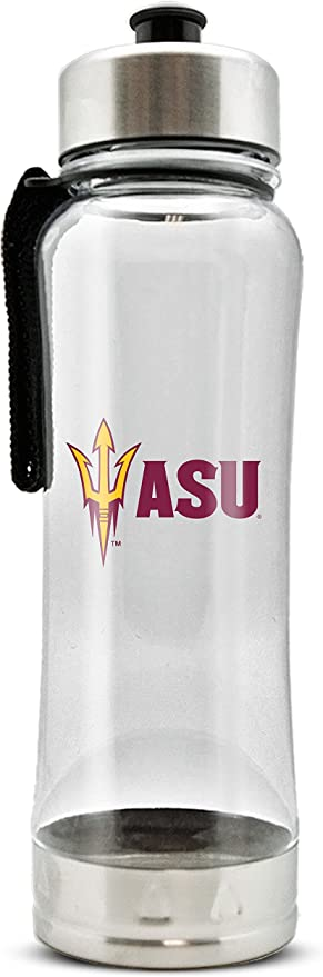 DuckHouse Sports NCAA Unisex Clip-On Clear Plastic Water Bottle