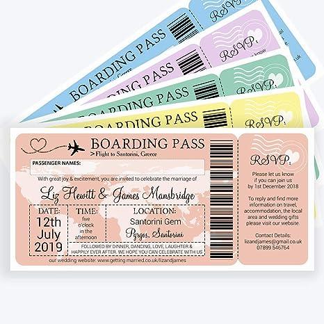 Personalizado de embarque/billete destino invitaciones de boda con sobres (Pack de 20)