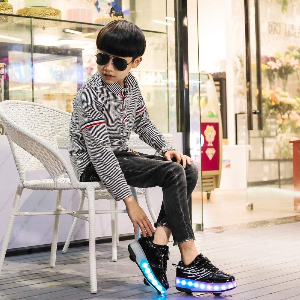 Adapt/és Unisexes D/ébutants Double Roues Clignotante Lumineux Chaussures De Skate Rechargeables USB JESU Chaussures L/ég/ères /À LED Patins /À Roulettes Pour Enfants