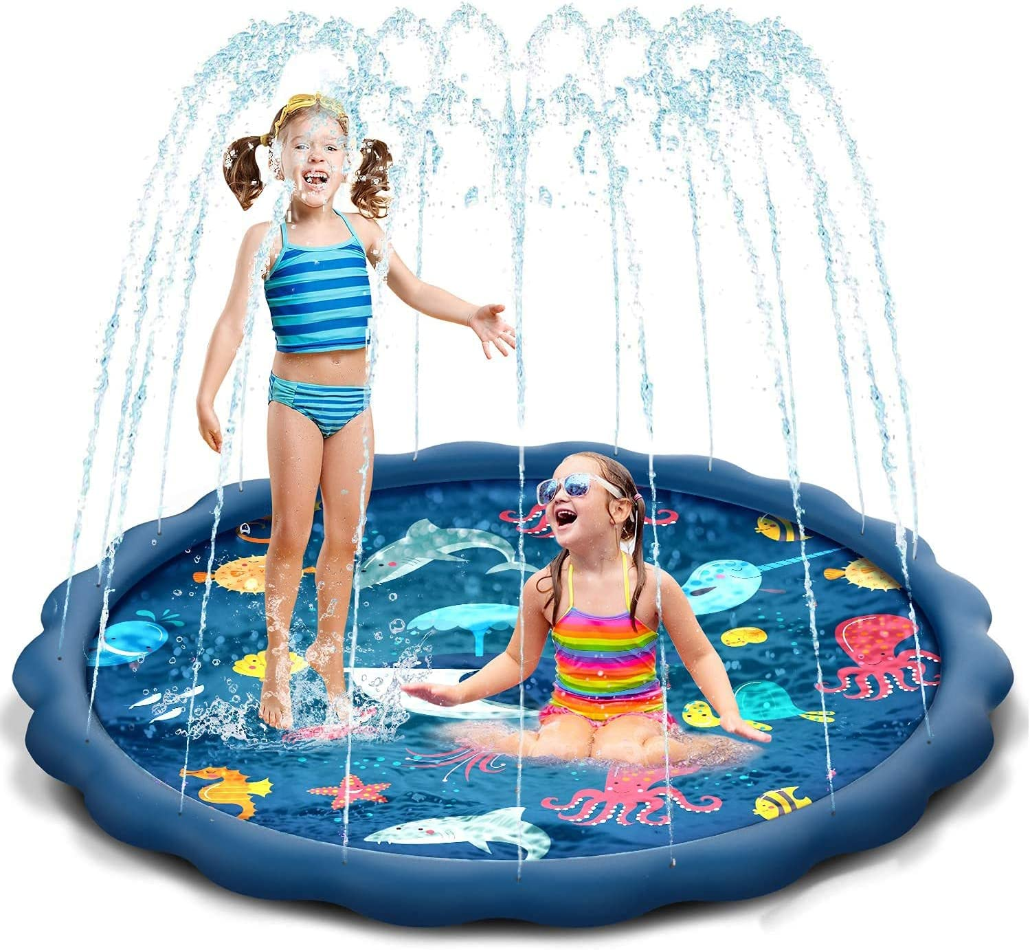 Outdoor Water Toy for Kids 68inch Shark Sprinkler Play Mat Swimming Pool Backyard Pets BWOU Splash Pad Children Toddlers