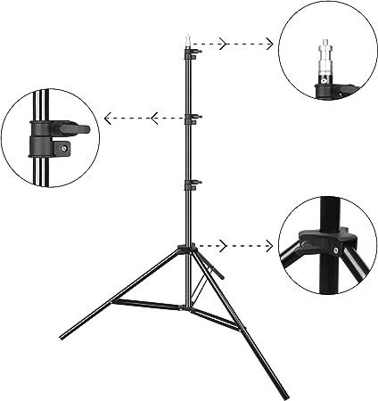 Marco de Fondo de Video de Foto port/átil Luxlight/® Soporte de Fondo de 2,1 m con Barra Transversal de 1,5 m y Abrazaderas de Estudio