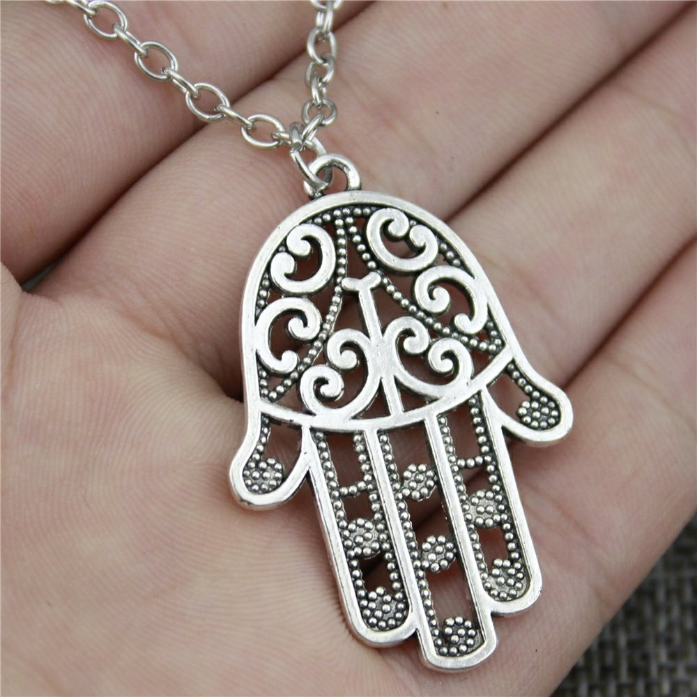 NEWME Hamsa Hand Charms Metal Chain Necklace For Easter Day Handmade Jewelry Kraftpaper Box Gifts