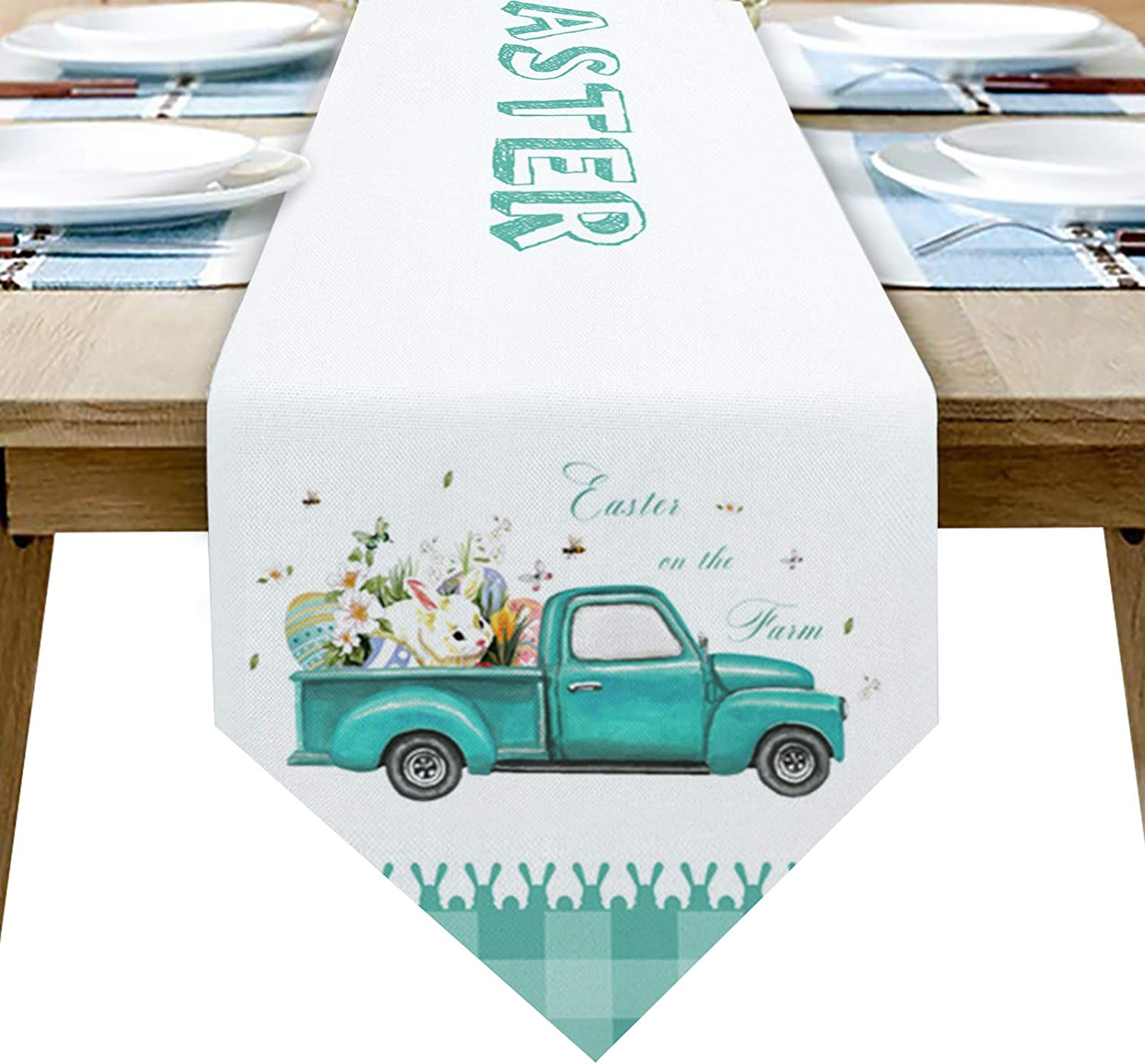 SunShine Day Linen Burlap Table Runnners - 13x70 inches Long, Easter Teal Truck with Egg Rabbit Dresser Scarves Table Decor for Celebration/Wedding Bed Runners for Hotel Farm White Teal Buffalo Lace