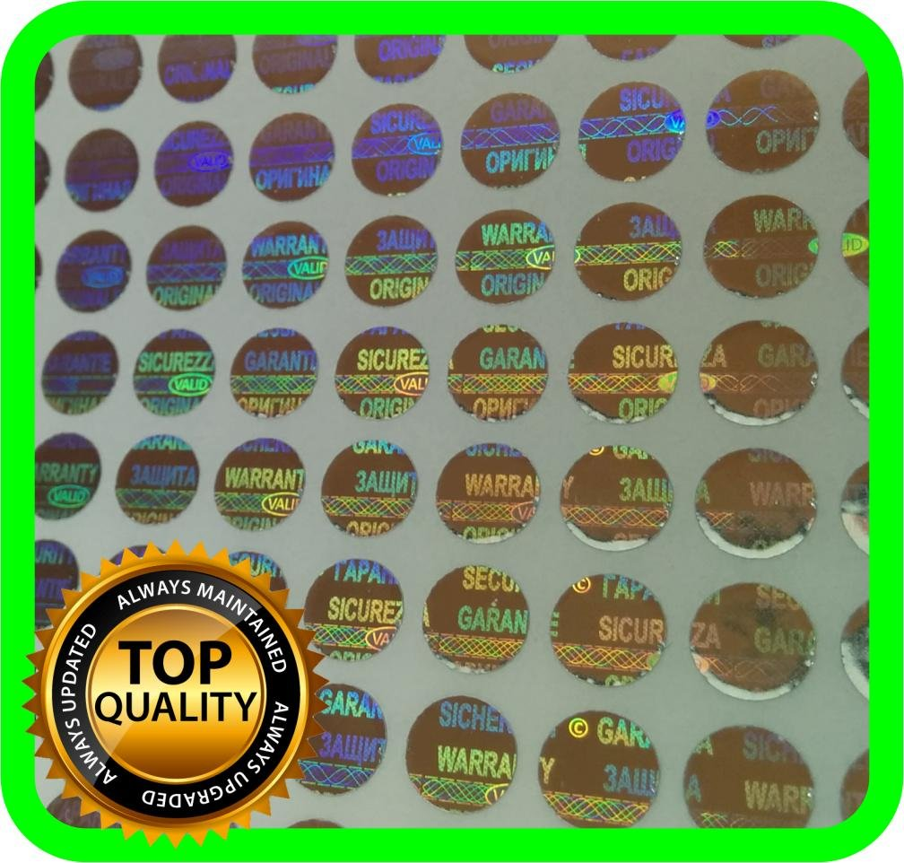 470 Etiquetas Seguridad Garantia con Holograma (Diam 0.80cm)