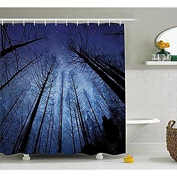H&S Nachthimmel Duschvorhang durch, Wald trockene Äste Sternenhimmel ...