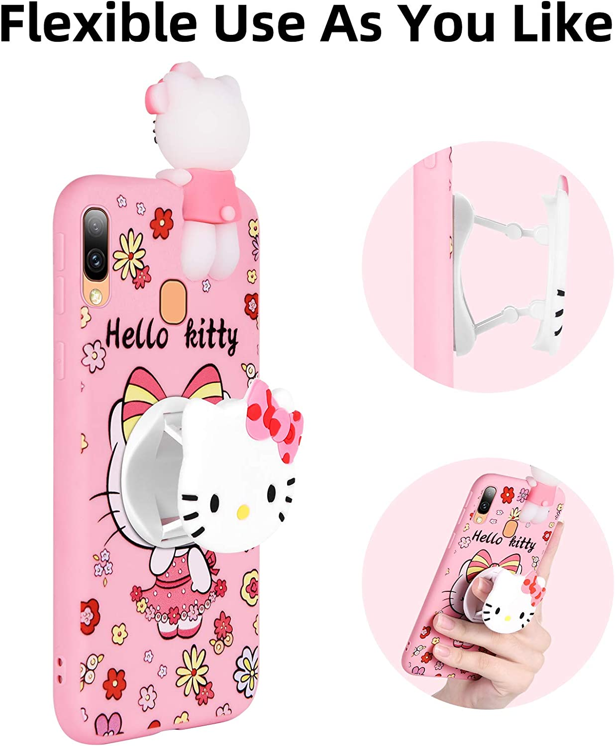 HikerClub Galaxy A01 Case Hello Kitty 3D Cartoon Case with Pop Out Phone Stand Grip Holder and Detachable Long Lanyard Neck Strap Band Soft Lovely Case for Children Kids Girls Hello Kitty, A01