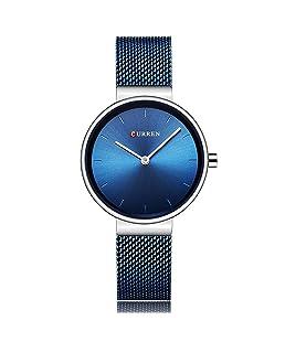 Fashion Simple Women's Quartz Watch Stainless Steel Mesh Strap Business Wrist Watch Curren (Silver & Blue)