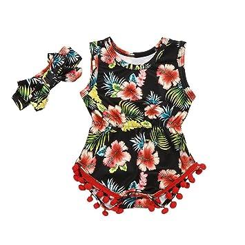 e4a927947 Amazon.com  FEITONG Toddler Baby Girl Floral Tassel Vest Sleeveless ...