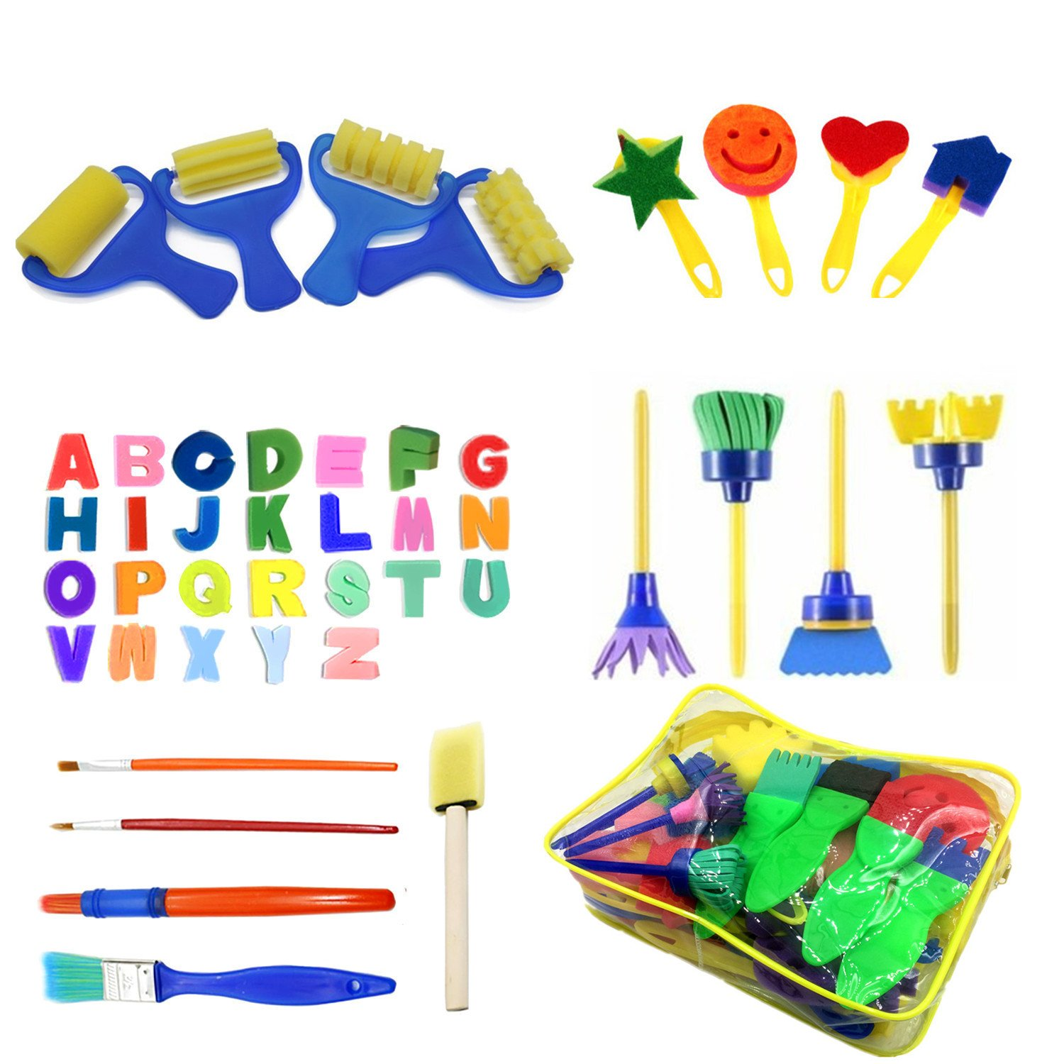 48pcs Kids Art & Craft Early Learning Painting Sponges Stamper Mini Paint Brushes Kit with 26 English Alphabets Drawing Tools (with Bag) Lumsbright