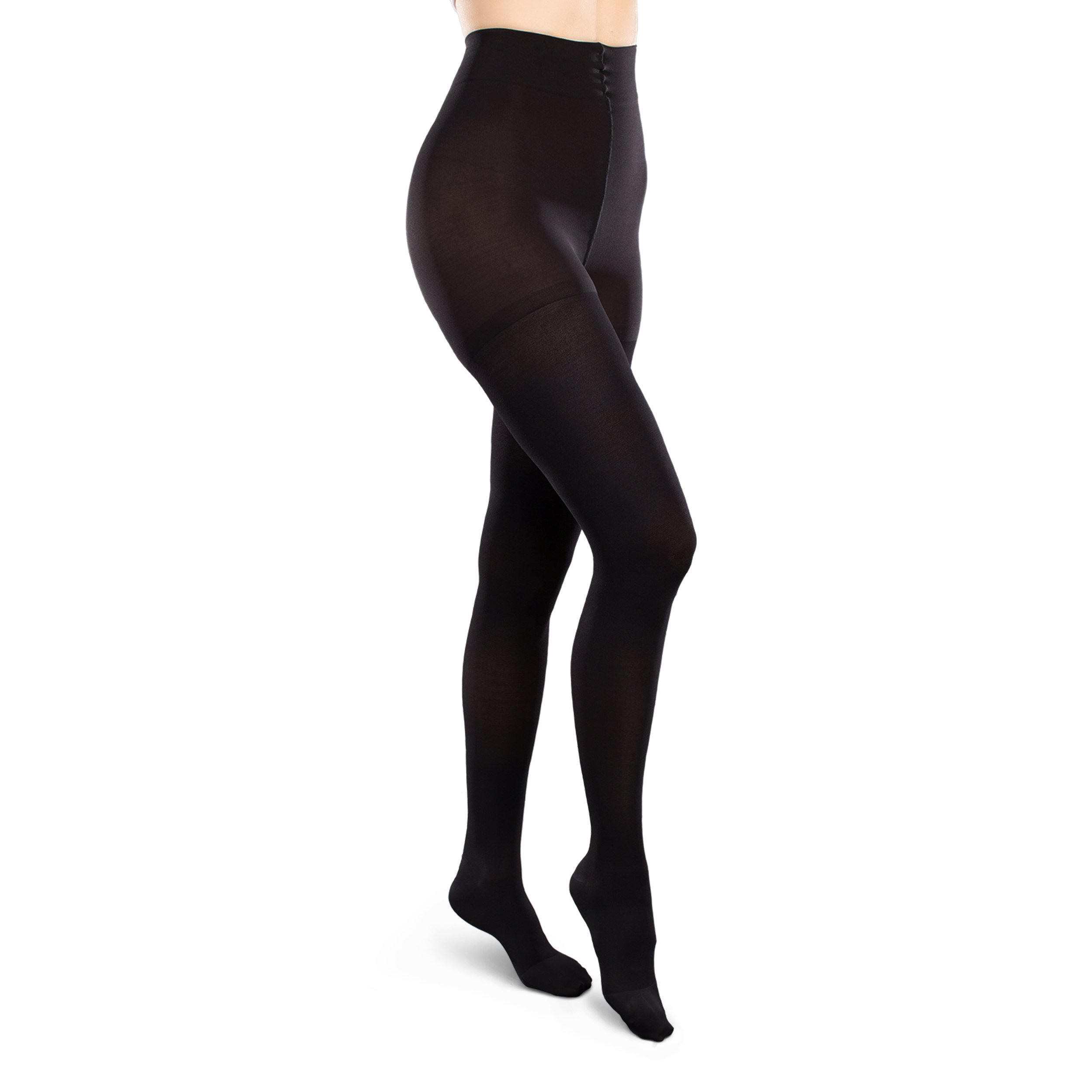 Therafirm Opaque Women's Support Pantyhose - Firm (30-40mmHg) Graduated Compression Hosiery (Black, Large Short)