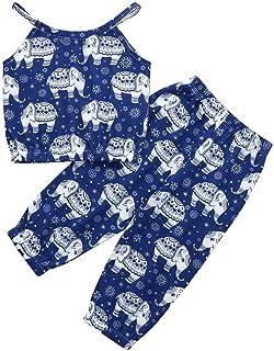 SamMoSon Clearance!2pc Neonato Ragazzi Bambino Camicia Manica Corta Cartone Animato Elefante Stampare Cinghia T Shirt Top+Pantaloni Abiti Outfits Clothes Set