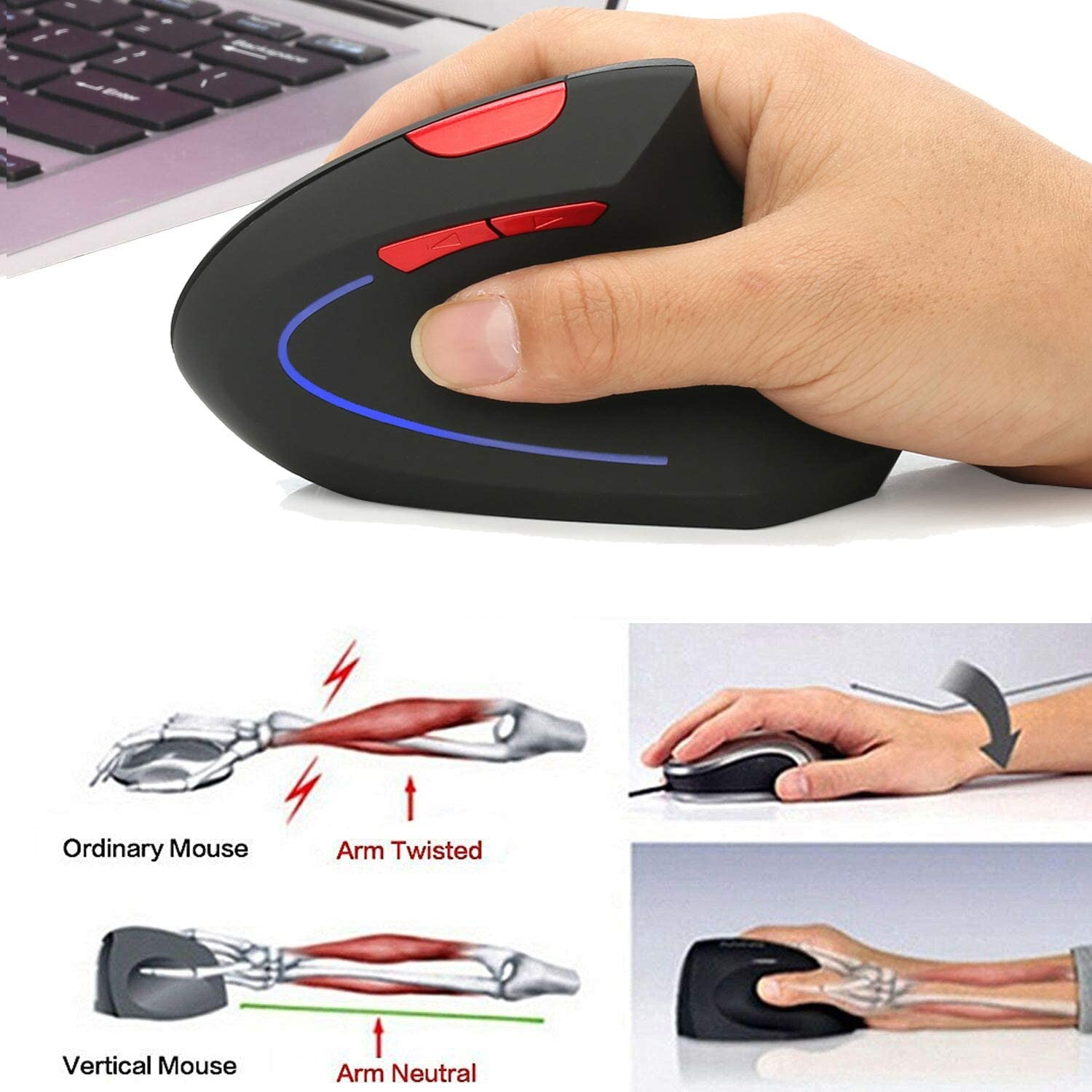 2.4Ghz Mouse Ergonomic Design 800Dpi//1600Dpi GWX Vertical Wireless Mouse 2400Dpi Avoid Carpal Tunnel Syndrome for Office Games,Gray