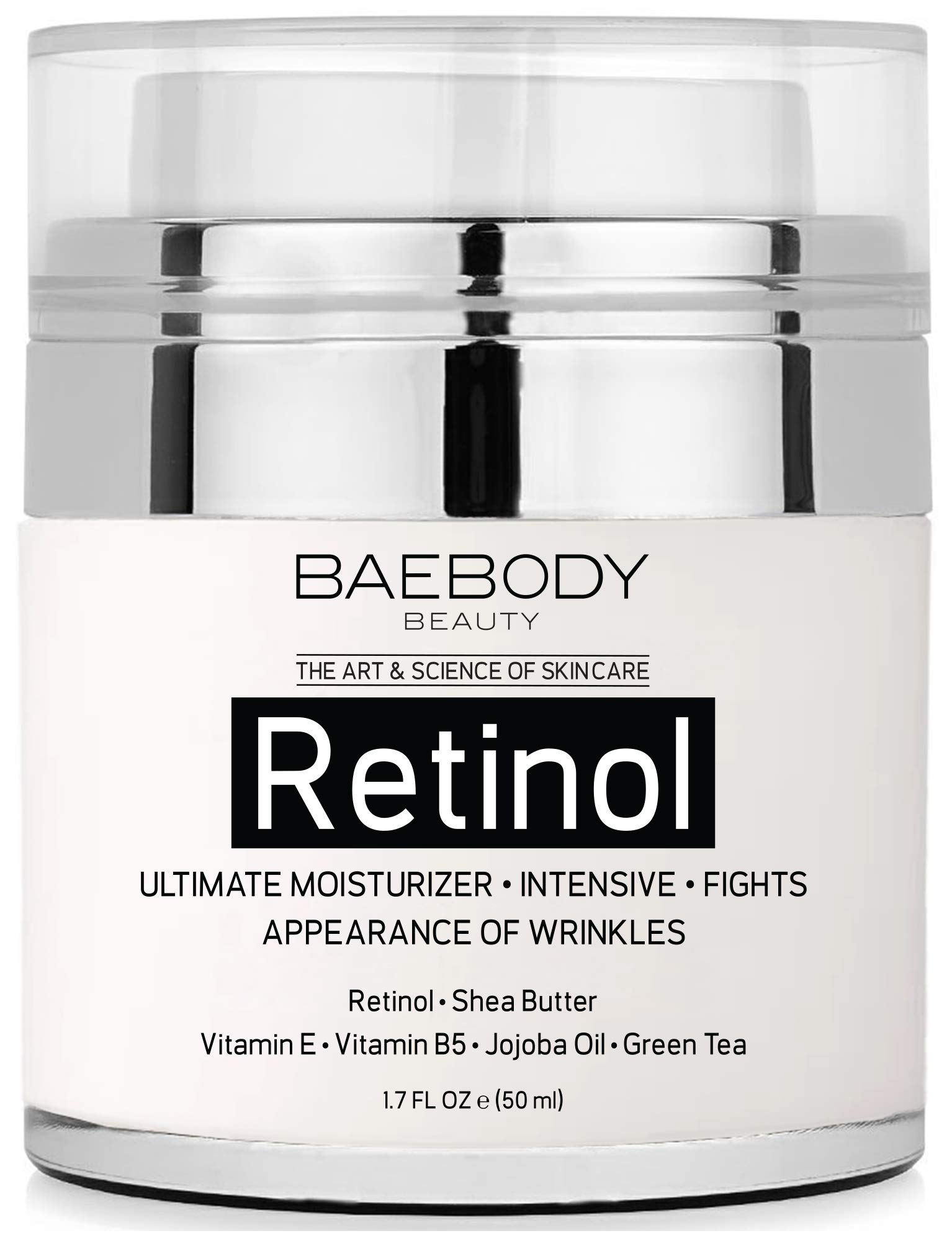 Baebody Retinol Moisturizer Cream for Face and Eye Area - With Retinol, Jojoba Oil, Vitamin E. Fights the Appearance of Wrinkles, Fine Lines. Best Day and Night Cream 1.7 Fl. Oz by Baebody