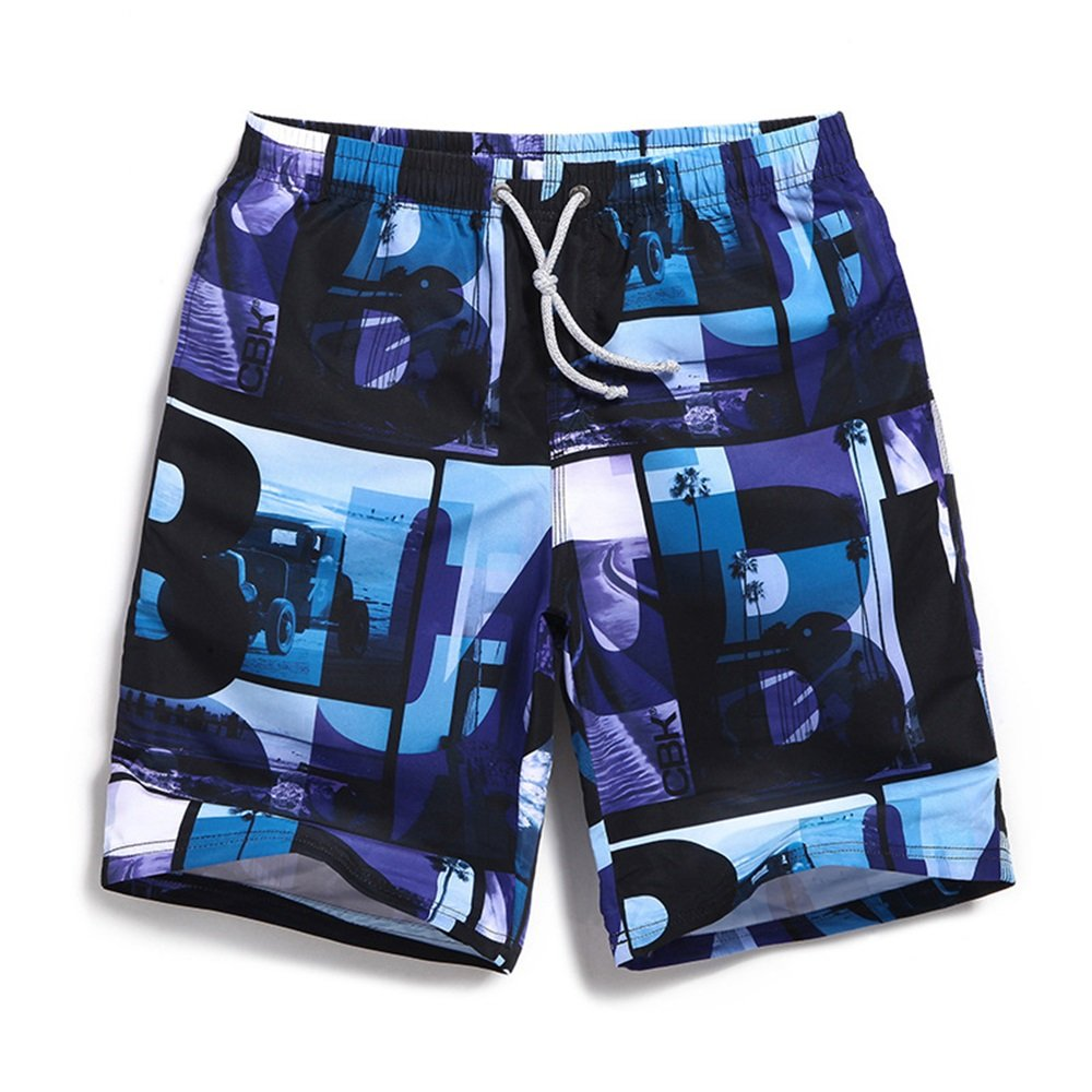 c843eb0569894 blueee Men's Swim Trunks Board Shorts Shorts Shorts Mens Leisure Sports  Summer Cool Surf Pants Loose Soft Beach Pants (color blueee, Size L) 5391e5