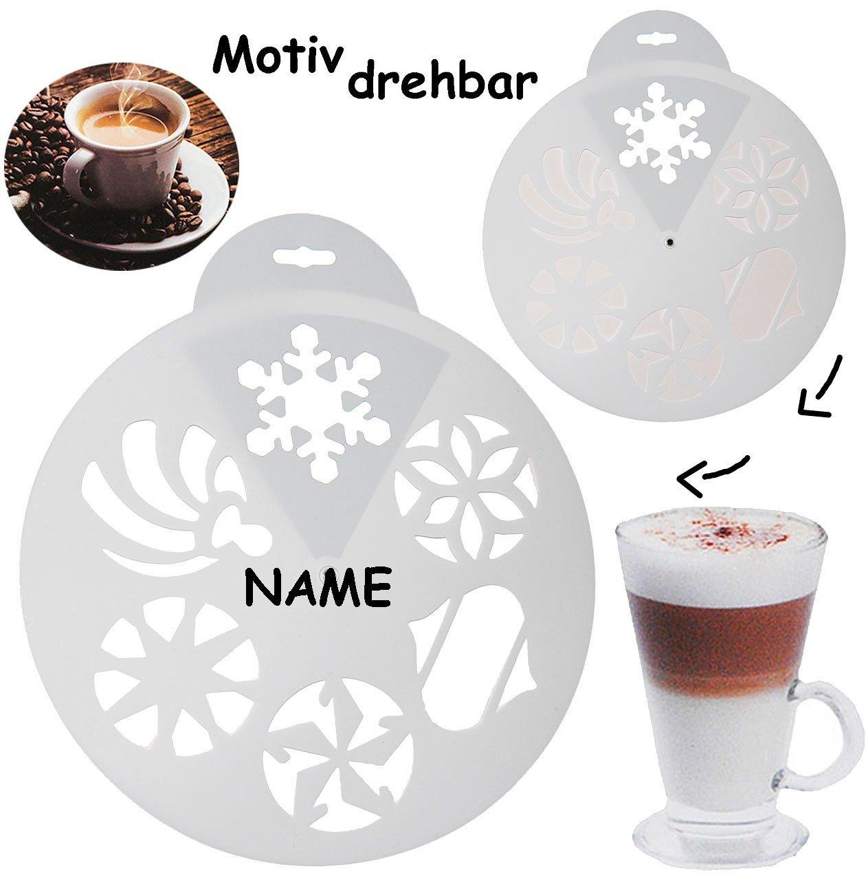 alles-meine.de GmbH Schablonen Vorlage z.B. für Cappuccino & Kuchen - 6 Stück Weihnachts & Winter Motive - incl. Name - Kuchenschablonen / Tortenschablone - Kaffee - Puderzuc..