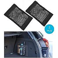 Trunk Storage Net, Wady 2 Pack coffre arrière de voiture Back Seat Sticker élastiques Cargo String Net Stockage de maille Ajouter Organisateurs Sac Pocket Organizer