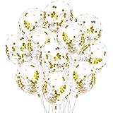 Aneco 20 Pièces Or 12 Pouces Ballons Confettis Latex Confettis Ballon Pour Les Décorations De Fête De Mariage D'anniversaire