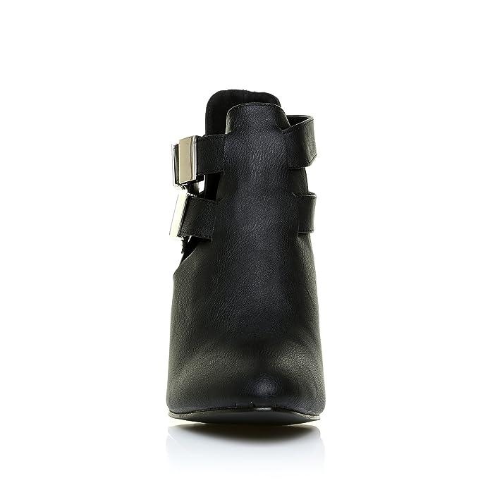 ShuWish UK Marley Bottine Femme Cuir PU Synthétique Talon Bloc Découpe  Cheville - Cuir synthétique PU noir, Synthétique, 8 UK 41 EU  Amazon.fr   Chaussures ... 39fb5cc370b4