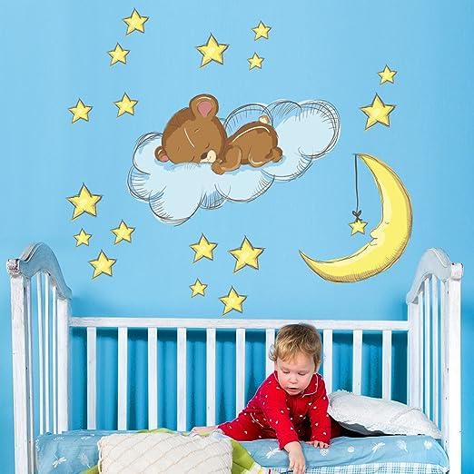 wall art r00138/Pegatinas de Pared para ni/ños peque/ño Oso durmiendo en la Wolke 90/x 30/x 0,1/cm
