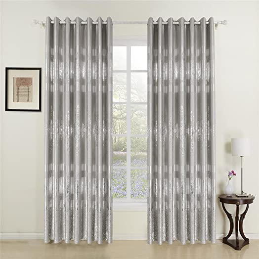 IYUEGO Grace Silver Print Grommet Top Lining Blackout Curtains Drapes With  Multi Size Customs 84u0026quot;