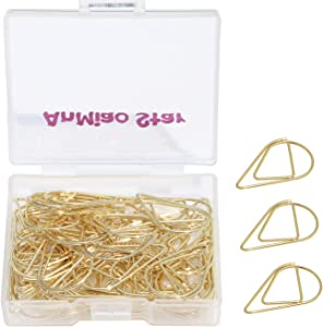 AnMiaoStar Small Metal Drop-Shaped Paper Clip, Lovely Office Supplies Decorations, Pack of 50 (Gold)
