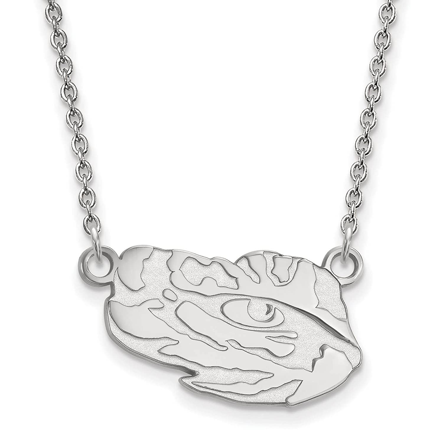 925 Sterling Silver Rhodium-plated Laser-cut Louisiana State University Small Pendant w//Necklace 18