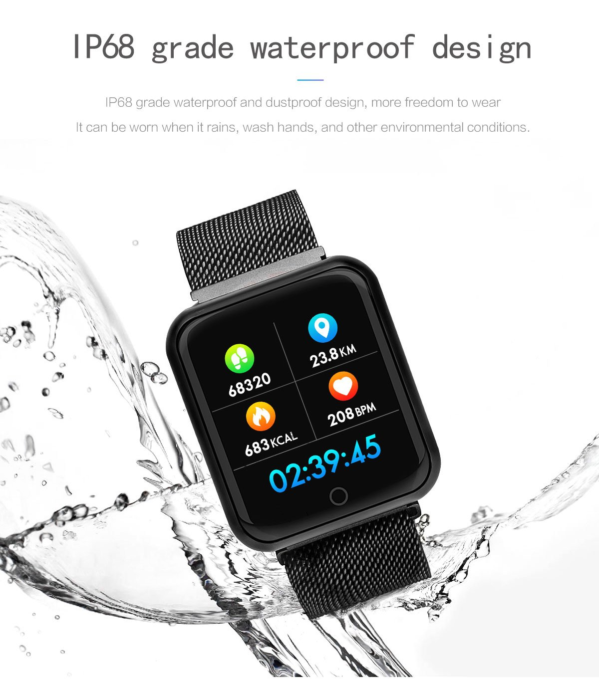 KingTo Activity Tracker Watch Waterproof with Heart Rate Monitor and Blood Pressure Monitor Fitness Tracker Watch Women and Men for Android and iOS Smartphone by KingTo (Image #6)