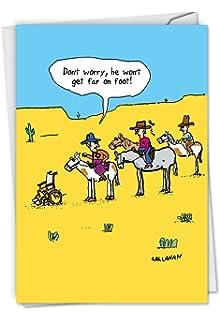C6277BDG Wont Get Far On Foot Funny Birthday Greeting Card Featuring Paraplegic Escaping