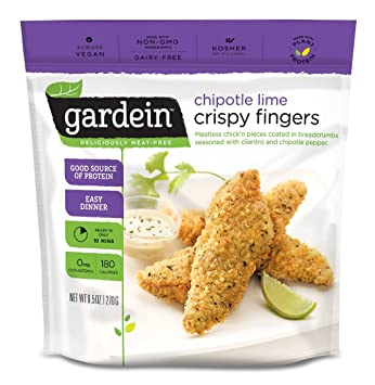 Gardein Chipotle Lime Crispy Chick'n Fingers, Meatless Protein Packed  Strips, 9 5 Ounce (Frozen)