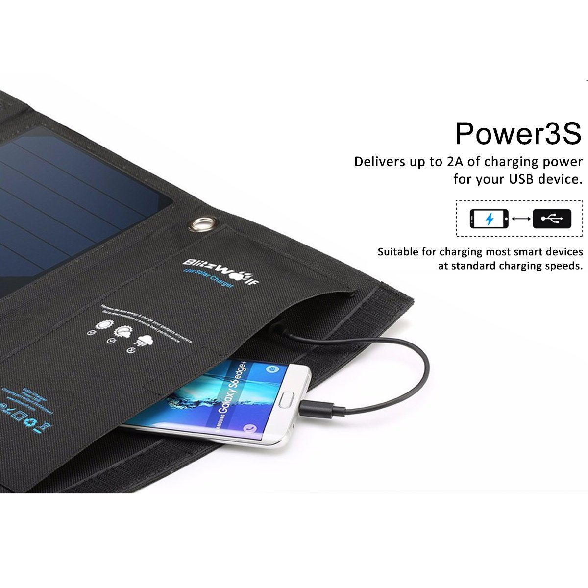 BlitzWolf 15W Solar Charger Portable Dual USB Port for iPhone X 8 Plus 7 6 6s Plus, Samsung Galaxy S8 S7 S6 Edge, Android Powered Foldable Panel Water Resistant High-Efficiency SunPower Charger by BlitzWolf (Image #7)