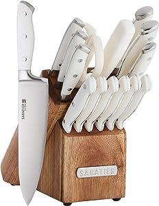 Sabatier 5255849 Forged Triple Rivet Knife Block Set, 15-Piece, White