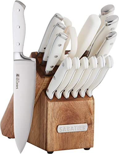 Sabatier Forged Triple Riveted Knife Block Set 15 Piece White