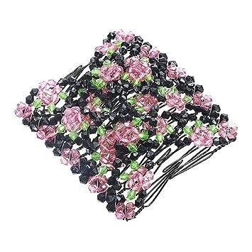 Tpingfe - Peines para el Pelo, Doble Peine para el Pelo, diseño de Perlas mágicas, elástico, a la Moda: Amazon.es: Juguetes y juegos