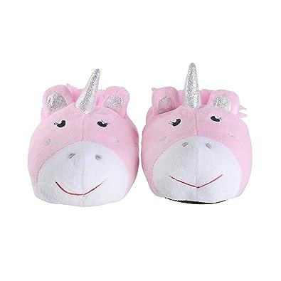 c89062e25 Girls 3D Unicorn Slippers Pink Silver Sparkle Novelty (Pink) (13-1 UK