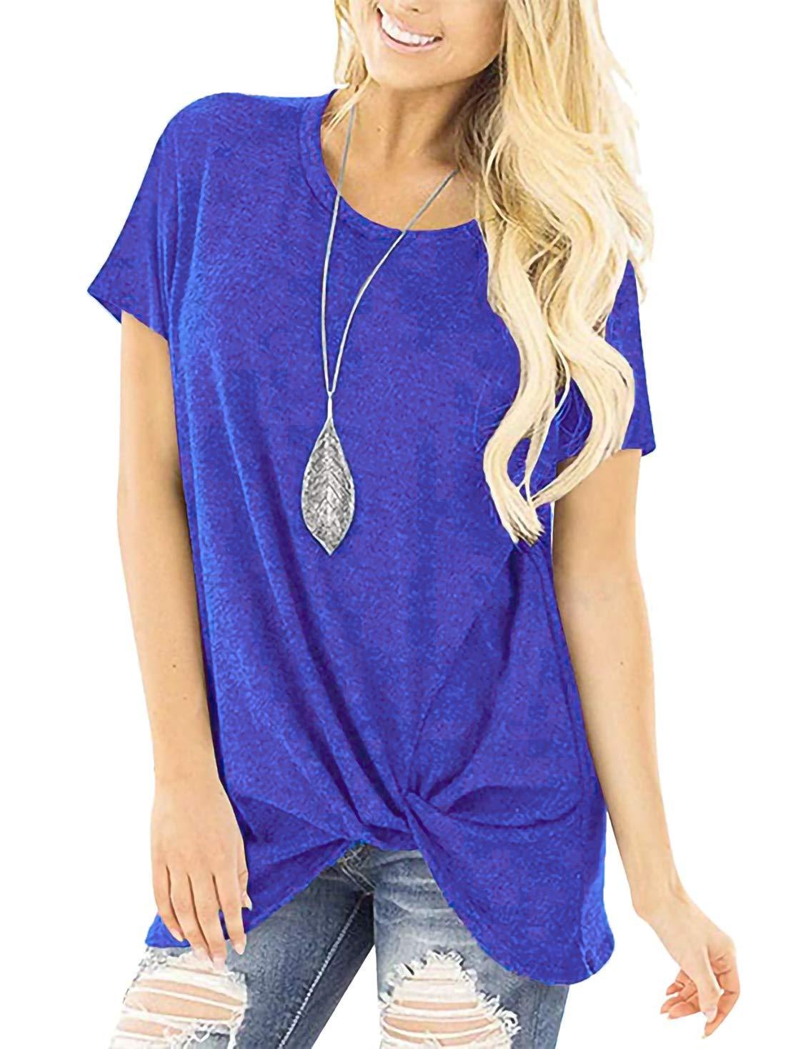 Durzasvo Womens Cute Comfy Front Twist Knot Shirt Summer Long Loose Fit